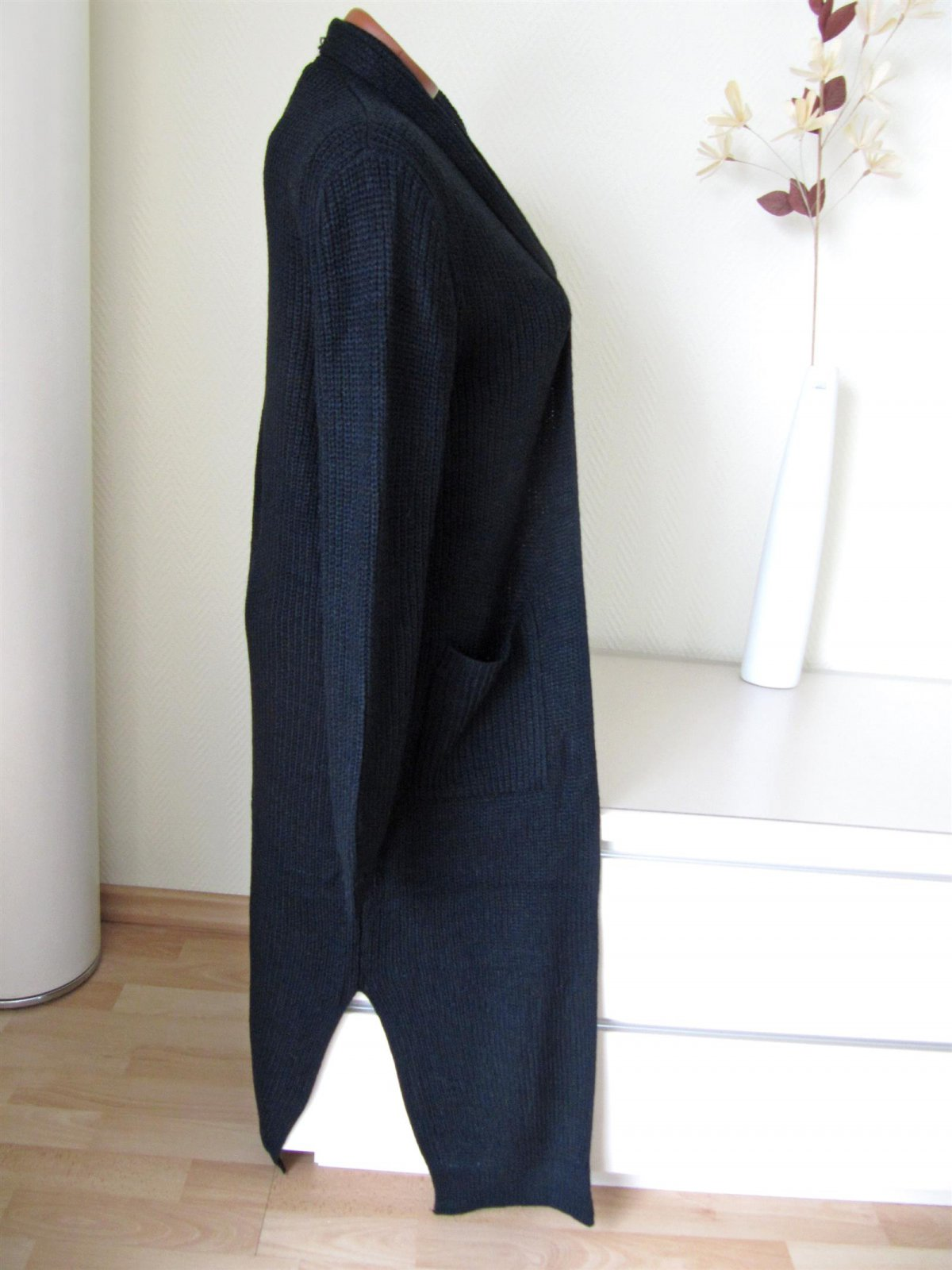 langer maxi strickmantel jacke taschen ohne schmuckndl. Black Bedroom Furniture Sets. Home Design Ideas