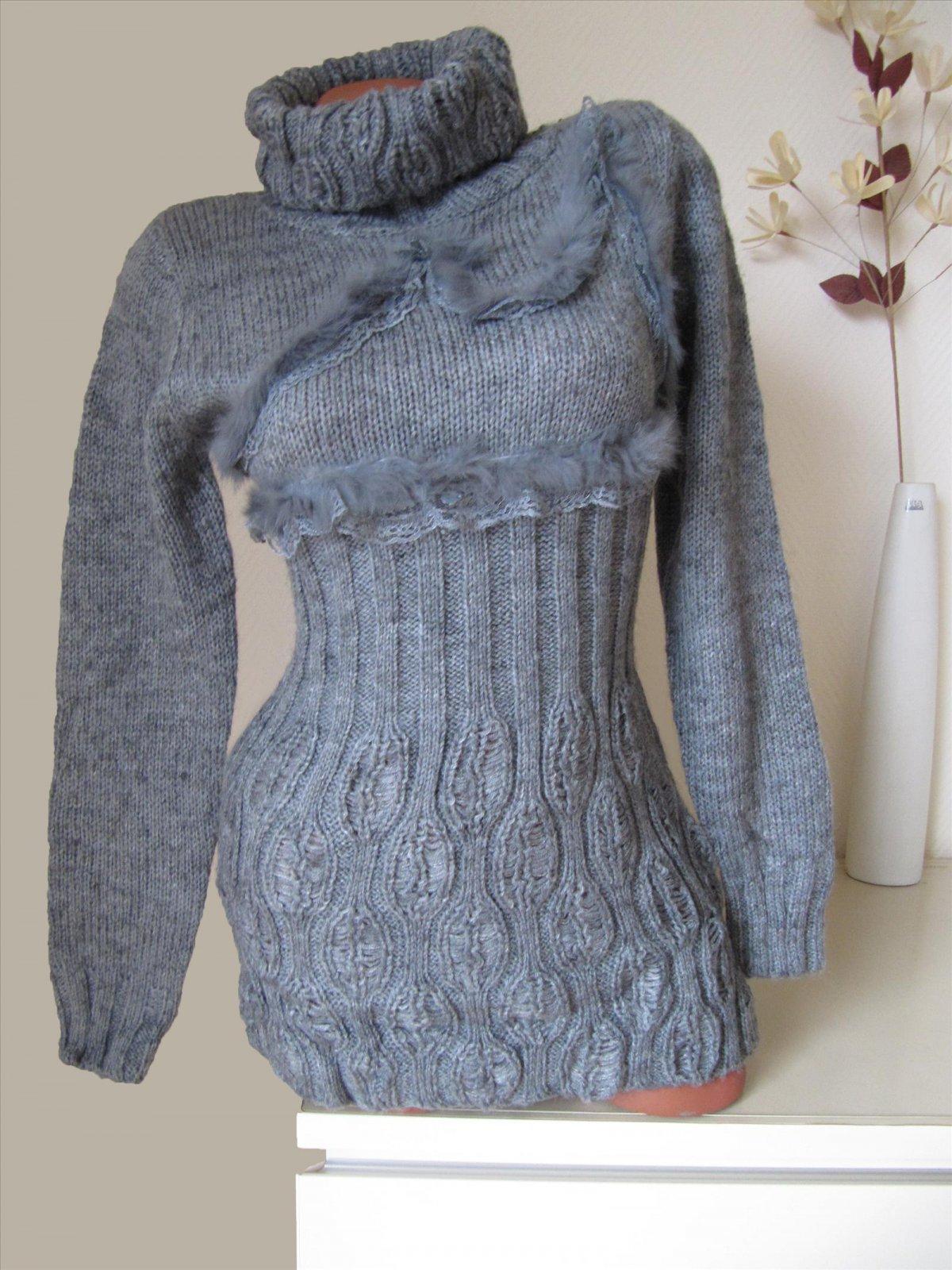 strick long pullover pulli kleid echt fell mit spitze. Black Bedroom Furniture Sets. Home Design Ideas