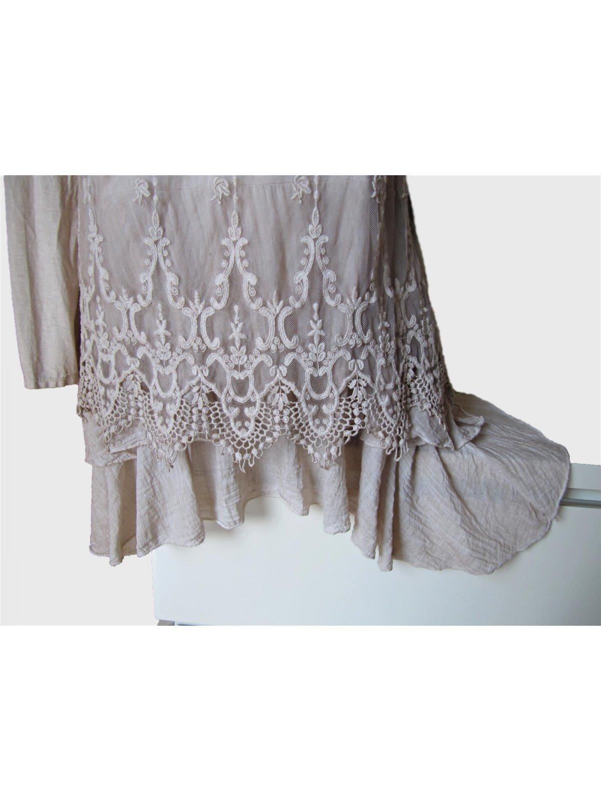 spitzenkleid h kel kleid spitze volant a form 1tlg batik beige. Black Bedroom Furniture Sets. Home Design Ideas