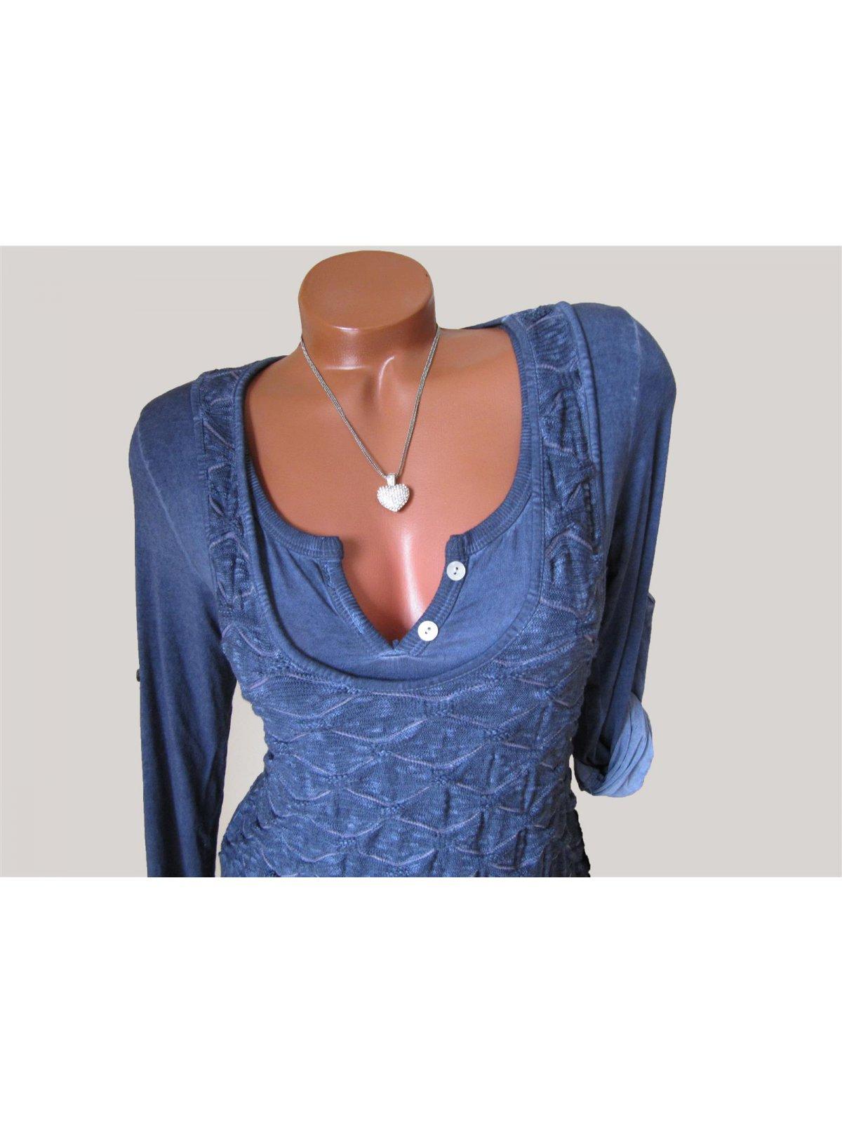 Strick Tunika Kleid Muster meliert Volant Shirt 30% Seide ...