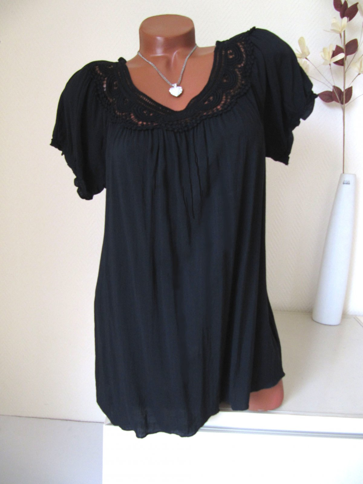 tunika bluse h kel spitze ausschnitt kurzarm wei 38 40 42. Black Bedroom Furniture Sets. Home Design Ideas