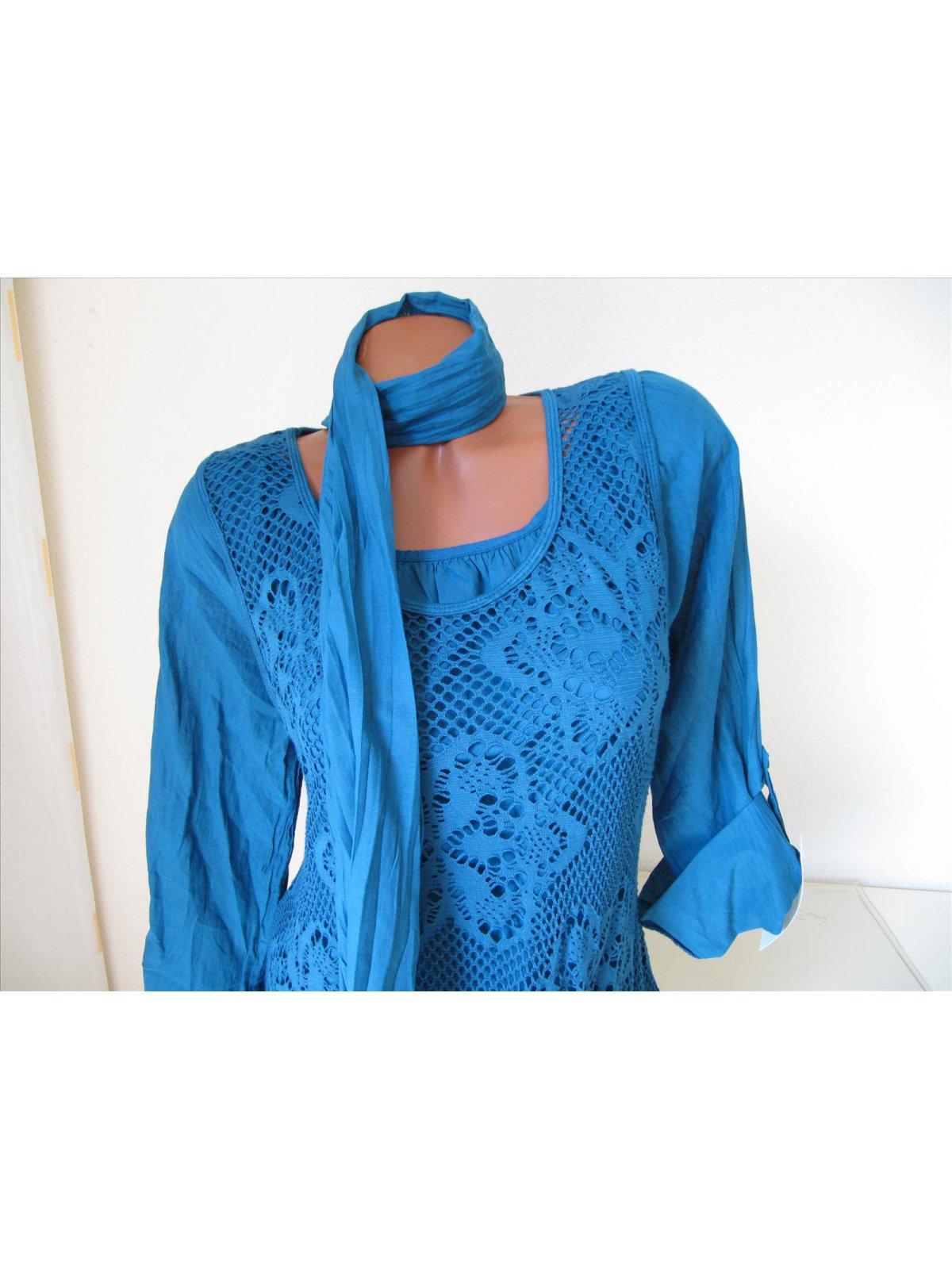 zipfel tunika kleid spitze volant unterkleid bluse schal petrol blau. Black Bedroom Furniture Sets. Home Design Ideas