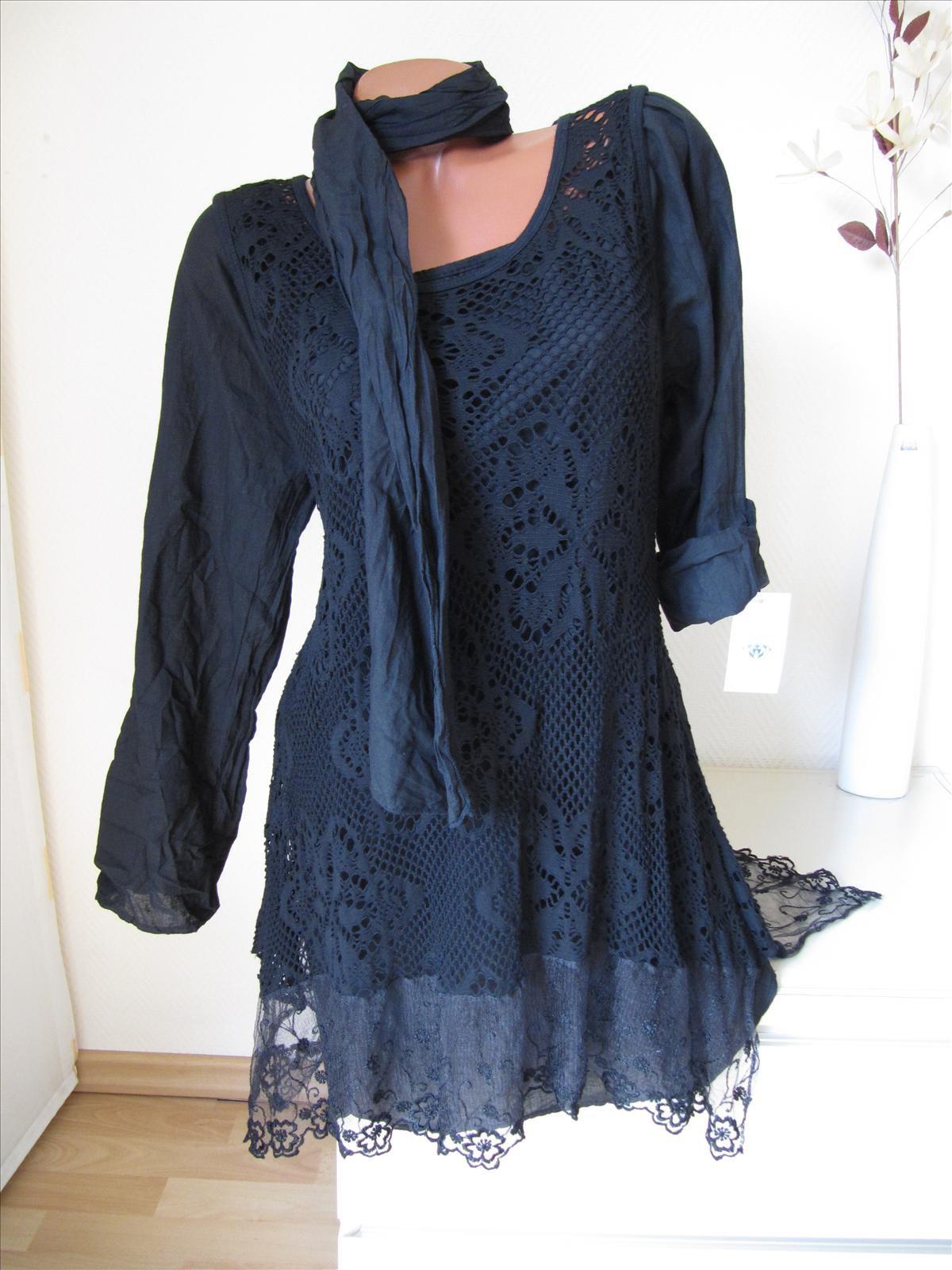 zipfel tunika kleid spitze volant unterkleid bluse schal. Black Bedroom Furniture Sets. Home Design Ideas