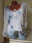 2tlg Crash Tunika Bluse Top BLUMEN FEDERN Glitzer...