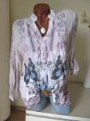 2tlg Crash Tunika Bluse Top SCHMETTERLINGE BLUMEN ETHNO...