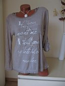 2tlg Vintage Tunika Long Shirt Top Pailletten Stern Schrift 38 40