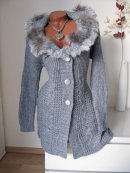 LONG STRICK JACKE MANTEL STRICKJACKE ECHT FELL PELZ BESATZ grau S M 36 38 40