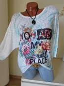 Oversize Feinstrick Shirt Tunika BLUMEN YOU ARE MY PLACE...