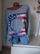 Oversize Vintage Shirt Pullover Stars & Stripes USA Flag Peace 44 46 48