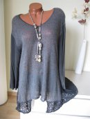 Zipfel Tunika Kleid Shirt Spitze Schal Batik K-arm 46 48 ...