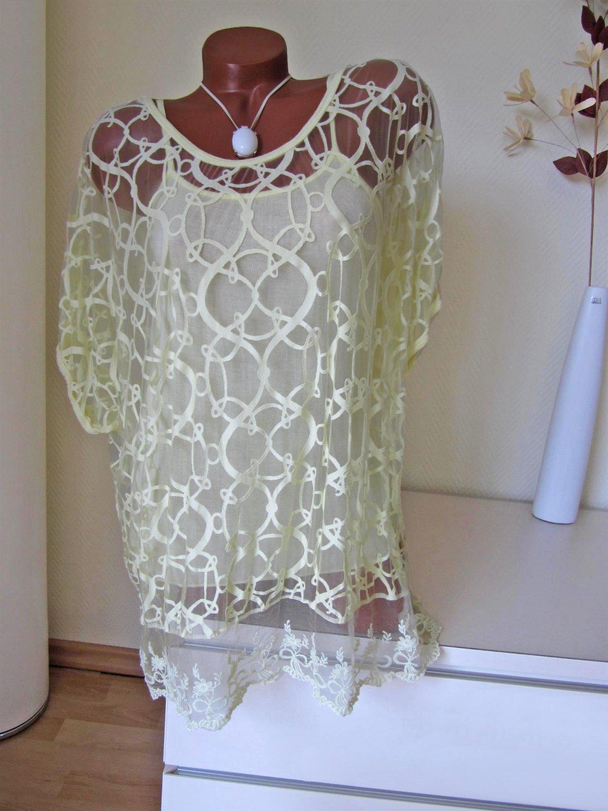 harmonische Farben Schnäppchen für Mode neueste Art von 2tlg Oversize Tunika Hängerchen transparent Spitze Top Kurzarm 40 42 44