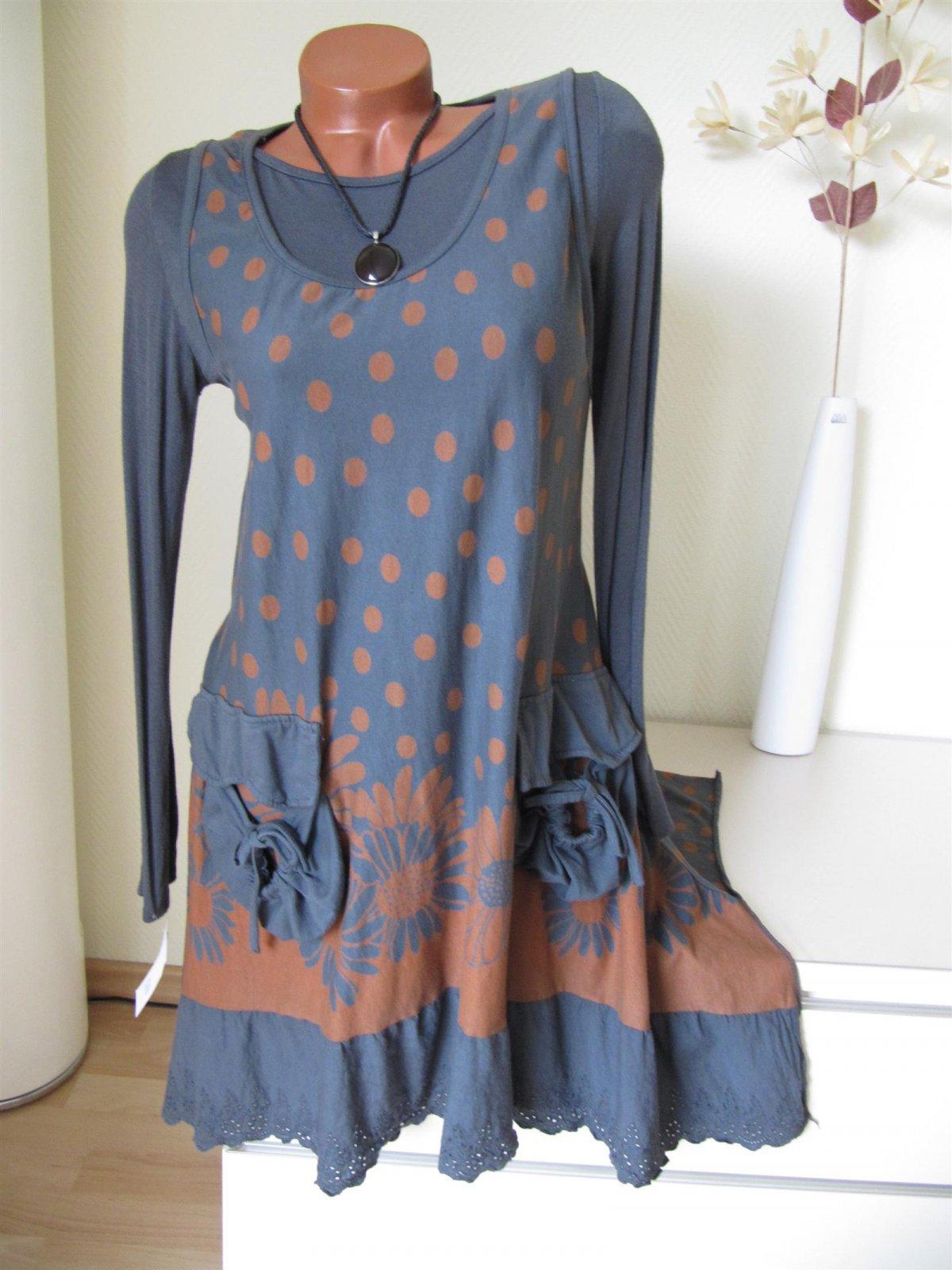 2tg Tunika Kleid Shirt Punkte Taschen Spitze gute Qualität ...