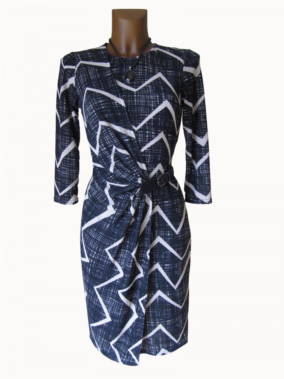 0f4e0310834 Edles Wickelkleid Kleid Tunika Falten Gürtel Optik Zick Zack schwarz beige  36 38