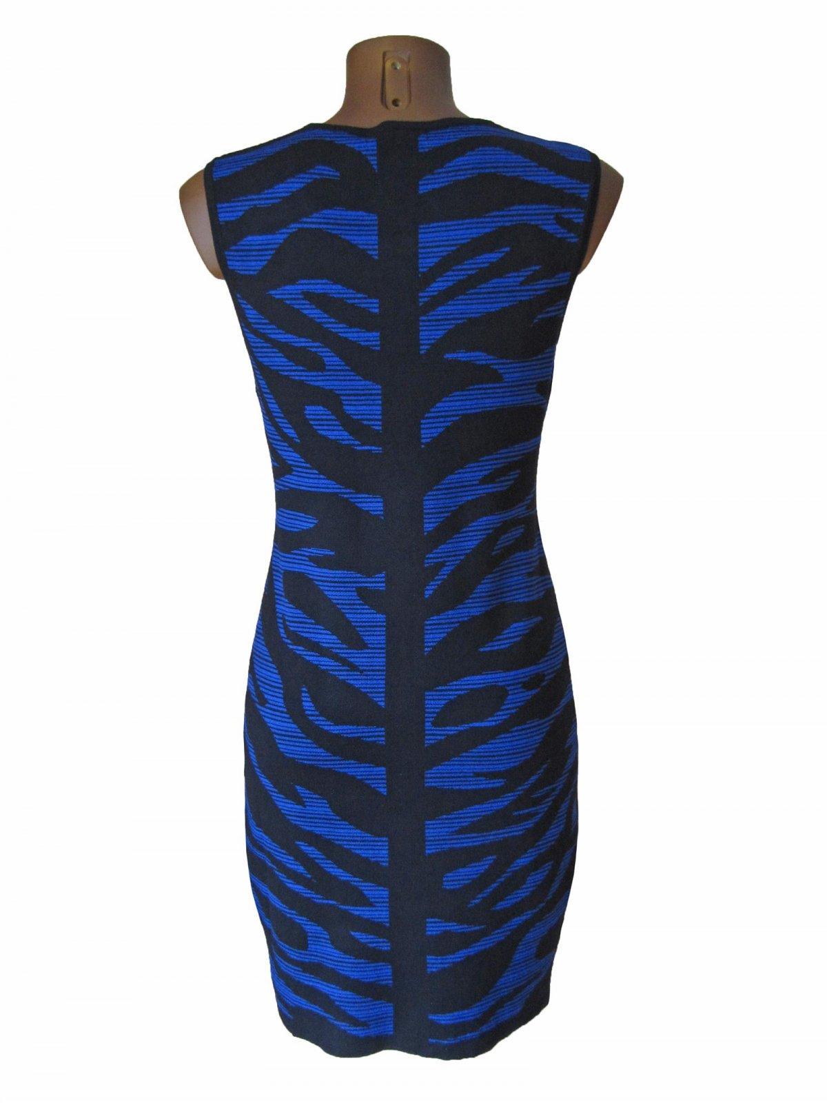 Edles Strick Kleid Tunika Long Pulli Pullover Armellos Royal Bla