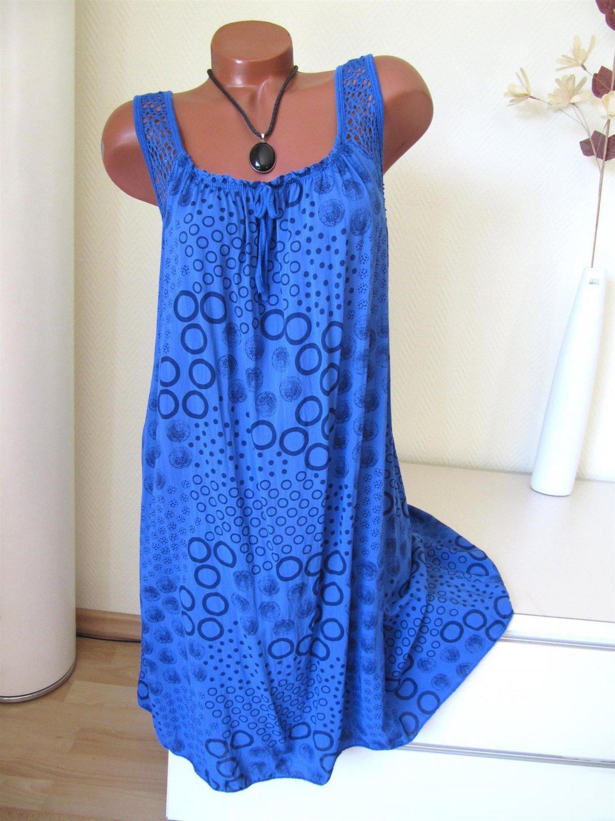 Luftige Sommer Tunika Kleid Hängerchen Ringel Netz 38 40 42 Ak