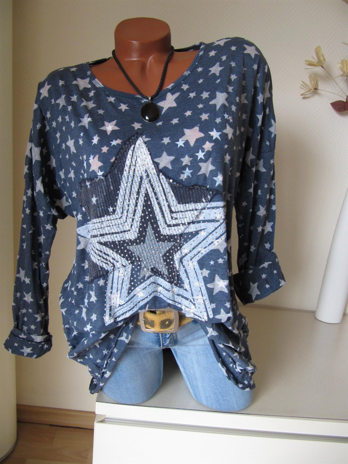 separation shoes e3703 07168 Oversize Long Tunika Shirt Sterne Glitzer Nieten Pailletten 40 42 44