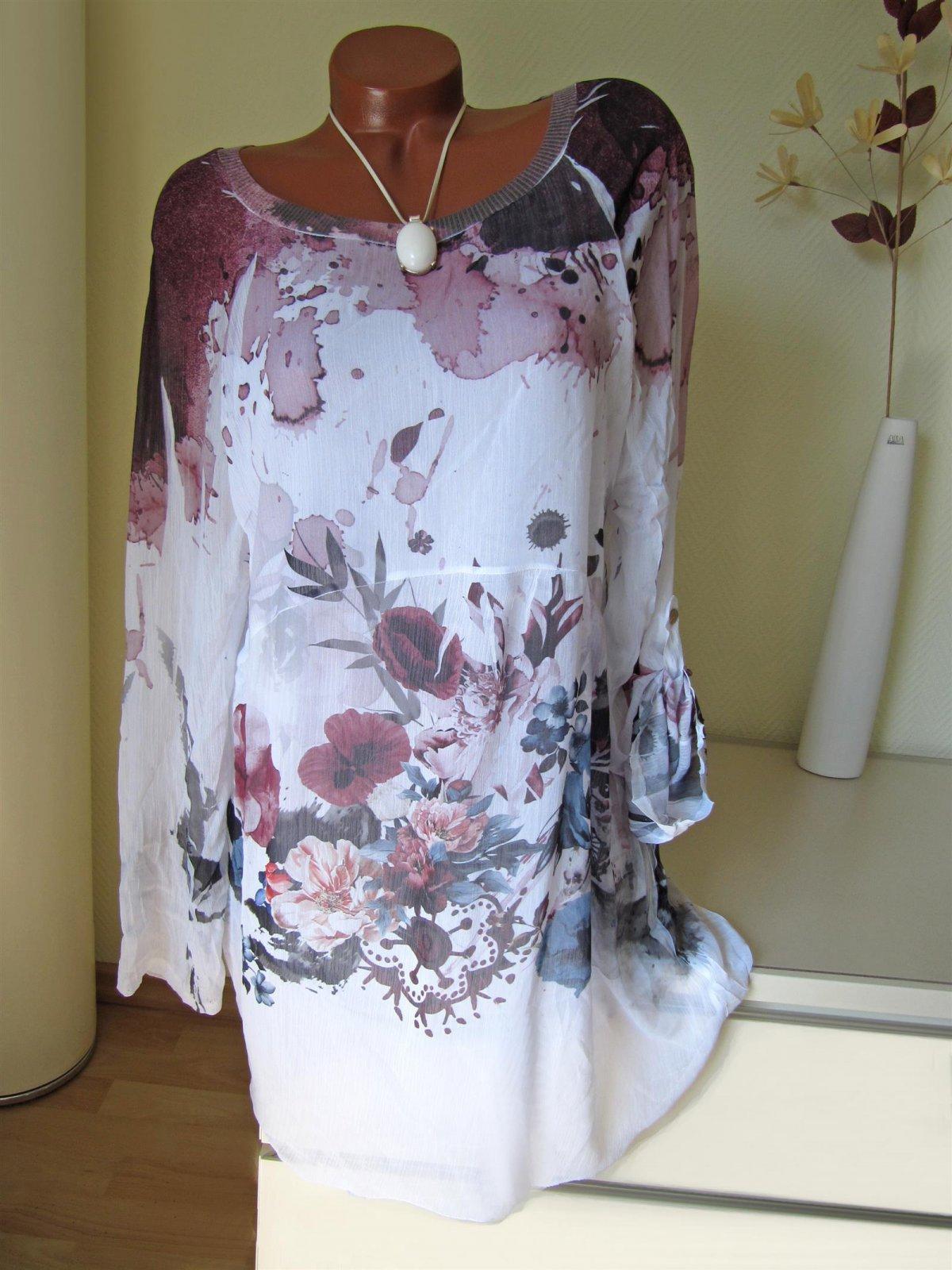 Romantik Oversize Vintage Tunika Kleid Blumen Batik A-Form 40 42 44,