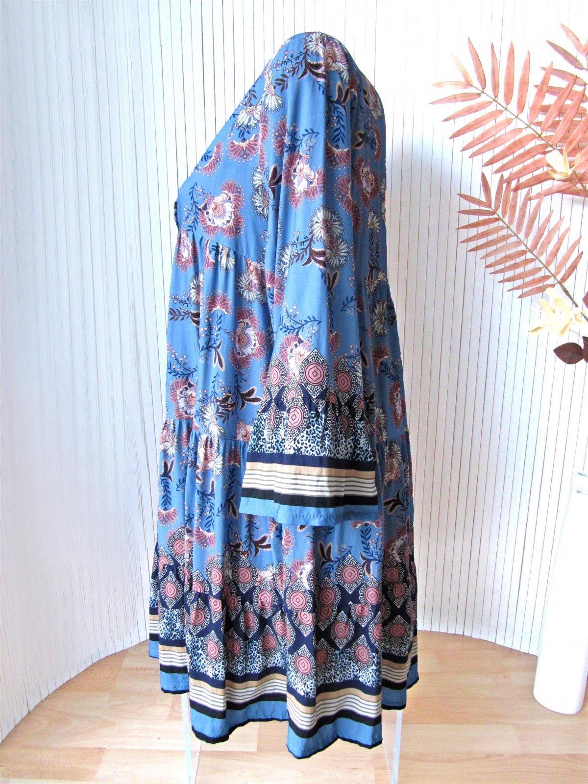 Schönes Hippie Ibiza Boho Kleid Tunika Hängerchen Blumen 38