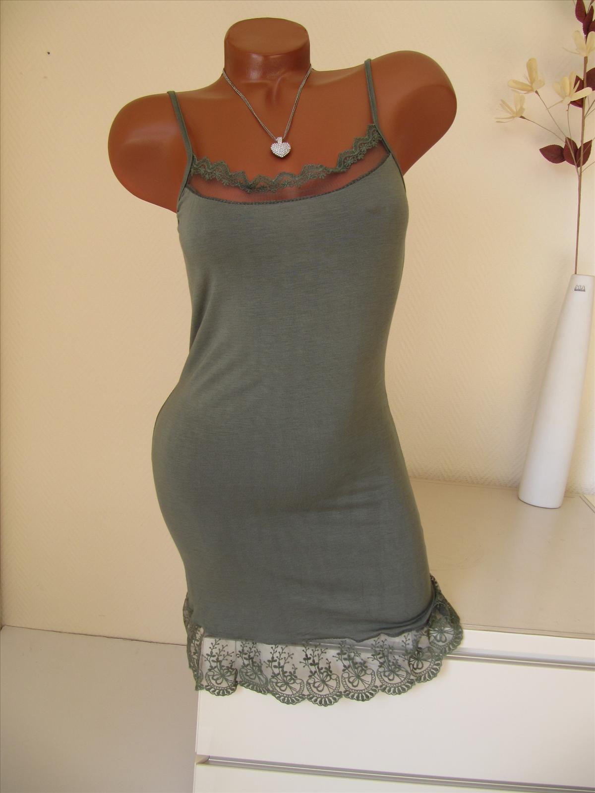 Unterkleid Tunika Kleid Shirt Top Spitze Volant ...
