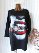 Cooles Sweat Kleid Long Shirt Tunika Taschen Foto Print...