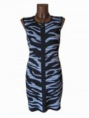 Edles Animal Strick Kleid Tunika Long Pullover Tiger