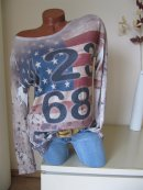 Fein Strick Vintage Shirt Tunika Pulli USA Flag Stars & Stripes 38 40 42