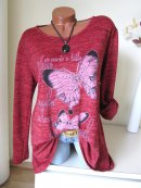 Oversize Shirt Tunika Pullover SCHMETTERLING STRASS...