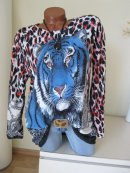 Raff Long Shirt Tunika Kleid Animal Leo Kopf Glitzer Strass