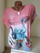 Schönes Raff Long Shirt Tunika FLAMINGO STRASS Tulpenform