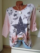 Shirt Tunika Strick Mix Stern Rosen Noten Schmetterlinge...