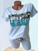 Stylisches Shirt Tunika Camouflage Metallic YOU LOVE weiß grün türkis 36 38 40