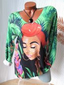 Weicher Feinstrick Pullover Pulli Shirt Tropical Girl...