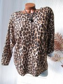 Weiches Long Shirt Tunika Pullover Taschen Leo Muster 38...