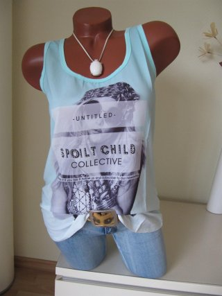 Stylisches Top Shirt Tunika Glitzer Steine SPOILT CHILD A-Form 38 40 42 Mint