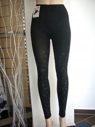 stylische Leggings Jeggings Hose Druck Kringel Muster schwarz matt 36 38 40